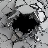 3d odpłacają się, 3d ilustracja, wybuch, pękająca betonowa ściana, dziura po kuli, zniszczenie, abstrakcjonistyczny tło