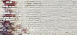 Rocznika Szeroki Stary Czerwony Biały ściana z cegieł tekstury tło