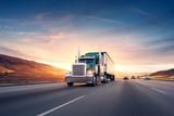Amerykański styl ciężarówki na autostradzie ciągnąc ładunek. Transport