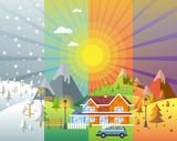 zestaw do projektowania krajobrazu z zimą, wiosną, latem, jesienią. domy