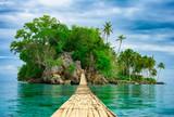 Bambusowy wiszący most nad morzem tropikalna wyspa