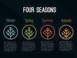4 sezony drzewo ikona Zaloguj się w koło (zima wiosna lato i jesień) wektor wzór