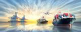 Logistyka i transport International Container Cargo ship and cargo plane w oceanie na niebie zmierzchu, transport towarowy, wysyłka