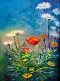 Obraz olejny Kwiaty Daisy