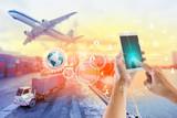 Połączenie społeczne i sieć dla tła eksportu do eksportu logistycznego.