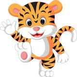 uroczy tygrys kreskówka