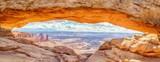 Mesa Wysklepiają panoramę przy wschodem słońca, Canyonlands park narodowy, Utah, usa