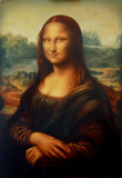 Reprodukcja obrazu Mona Lisa Leonarda da Vinci i lekki efekt graficzny.