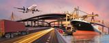 Transportu panoramicznego i koncepcja logistyczna przez samolot łódź ciężarówki dla logistyki Importu tło eksportu