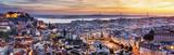 Panorama Lisbon przy nocą, Portugalia