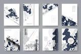 Zestaw szablonów stron A4. Streszczenie monochromatyczne geometryczne tło. Modne kompozycje dla biznesu, technologii i reklamy. Nowoczesny styl. Ilustracji wektorowych