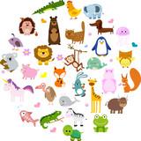 Ilustracji wektorowych cute zwierząt i ptaków: aligator, Fox, żyrafa, niedźwiedź, kot, pies, słoń, żaba, kurczak, zebra, żółw, królik, iguana, małpa, wieloryb, jednorożec, Koala, pingwin