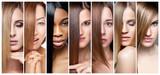 Kolaż kobiet o różnych kolorach włosów, kolorze skóry i cerze