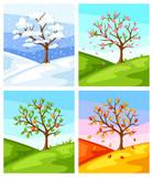 Cztery pory roku. Ilustracja drzewo i krajobraz w zimie, wiosna, lato, jesień.