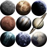 Fantastyczne planety jakości Układu Słonecznego na białym. Elementy tego obrazu dostarczone przez NASA