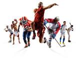 Sport kolażu boksu piłki nożnej futbolu amerykańskiego koszykówki baseballa lodowy hokej etc