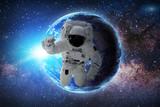Astronauta w galaktyce. Elementy tego obrazu dostarczone przez NASA.