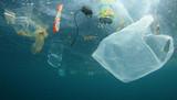 Plastikowe torby na zakupy i inne zanieczyszczenia śmieci w oceanie