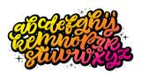 Czcionka skryptowa kaligrafii wektorowej. Odręczny styl pędzla nowoczesny kaligrafii kursywą kroju. Strony napis i alfabet typografii dla wzorów: logo, projektowanie opakowań, plakat. Zestaw typograficzny.