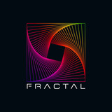 Kolorowy Fractal abstrakcyjny kształt Symbol w czarnym tle