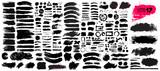 Duży zbiór czarnej farby, pociągnięcia pędzlem tuszem, pędzle, linie, grungy. Brudne artystyczne elementy projektu, pudełka, ramki. Ilustracji wektorowych. Pojedynczo na białym tle. Rysunek odręczny.