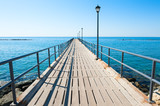 Wooden pier on the seacoast in Limassol, Cyprus