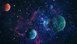 Scena wszechświata z planetami, gwiazdami i galaktykami w kosmosie ukazująca piękno eksploracji kosmosu. Elementy dostarczone przez NASA