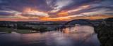 Pennybacker Bridge w Austin, Texas podczas zachodu słońca