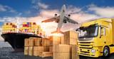 Ciężarówka, samolot i statek do przewozu towarów