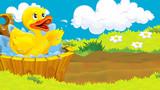 sceny kreskówki z małą kaczkę stojącą na polu - ilustracja dla dzieci