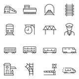 zestaw ikon pociągu i kolei. intercity, międzynarodowe, pociągi towarowe, ikony liniowe. Linia z edytowalnym obrysem
