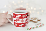 Female hand holding cup of tea in winter, holidays concept, Christmas mood