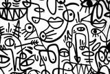 czarno-białe wzór graffiti na ścianie. Hiszpania, Jerez, styczeń 2018. Ciekawe tło