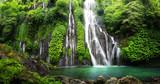 Wodospad kaskady dżungli w tropikalnych lasów deszczowych z rock i turkusowy niebieski staw. Ma nazwę Banyumala, ponieważ jej bliźniacze wodospady znajdują się na zboczu góry