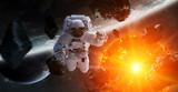 Astronauta pływające w przestrzeni renderowania 3D elementy tego obrazu dostarczone przez NASA