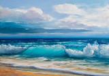 Obraz olejny morza na płótnie.