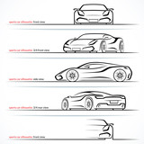 Modern super car, sports car vector silhouettes, outlines, contours isolated on white background. Front, rear and side views.