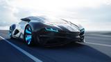 czarny futurystyczny samochód elektryczny na autostradzie na pustyni. Bardzo szybka jazda. Pojęcie przyszłości. 3d rendering.