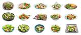 Set różne smakowite sałatki na białym tle
