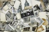 retro aparat na tle starych zdjęć