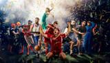 gracze różnych sportów na renderingu 3D stadionu piłkarskiego