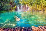 Niesamowicie piękny, magiczny krajobraz z wodospadem w Plitwicach, Chorwacja (medytacja harmonii, antystres - koncepcja)