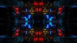 Abstrakcjonistyczny futurystyczny sci fi osnowy tunel z cząsteczki siatką. Grafika dla centrum danych, serwera, Internetu, prędkości. Futurystyczny big data wizualizacji, hi tech tle. Renderowania 3D.