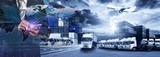 Mapa świata z dystrybucją sieci logistycznych, koncepcja logistyki i transportu z przodu Statek towarowy Container Cargo dla koncepcji szybkiej lub błyskawicznej wysyłki, zamówienia online towarów na całym świecie