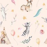 Śliczni rodzinni dziecko raccon, rogacz i królik. żyrafa zwierząt przedszkole i opatrzone ilustracja na białym tle. Akwarela boho raccon rysunek przedszkola wzór. Tło dla dzieci, druk przedszkola