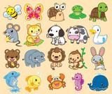 20 zwierząt, ładny wektor
