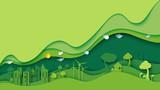 Ekologii i środowiska konserwaci pomysłu pojęcia kreatywnie projekt Zielony eco miastowy miasta i natury krajobrazowy tło tapetuje sztuka styl również zwrócić corel ilustracji wektora.