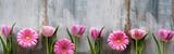 Wiosenne kwiaty na odrapane drewno