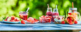 Lato truskawka ogród żywności panorama transparent