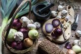Warzywa Cebula Stół Jedzenie Por Cebula Czosnek